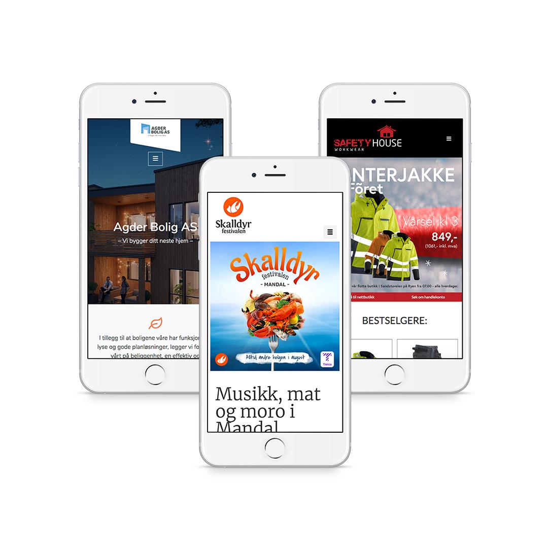 Design og utvikling av nettsider med et responsivt utseende.